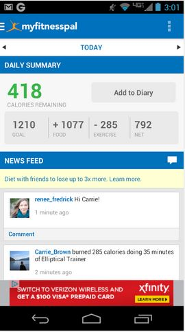 MyFitnessPal - screen shot