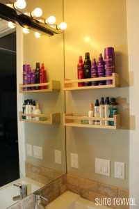 Cute and clever bathroom organization from Suite Revival.